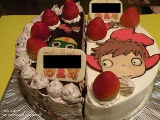 つるやのバースデーケーキ(ハーフ&ハーフ+キャラデコ)